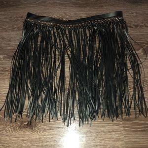 Black leather fringe belt